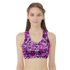 Sparkling Hearts Purple Women s Sports Bra with Border