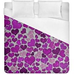 Sparkling Hearts Purple Duvet Cover Single Side (KingSize)