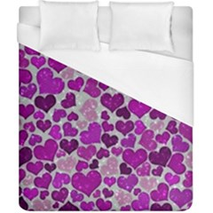 Sparkling Hearts Purple Duvet Cover Single Side (Double Size)