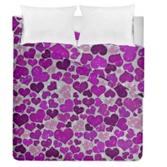 Sparkling Hearts Purple Duvet Cover (Full/Queen Size)