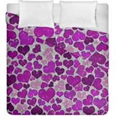 Sparkling Hearts Purple Duvet Cover (King Size)