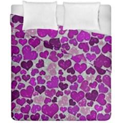 Sparkling Hearts Purple Duvet Cover (Double Size)