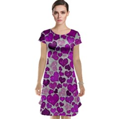 Sparkling Hearts Purple Cap Sleeve Nightdresses