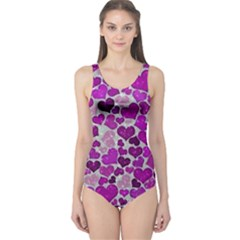 Sparkling Hearts Purple Women s One Piece Swimsuits