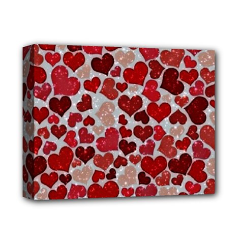 Sparkling Hearts, Red Deluxe Canvas 14  x 11