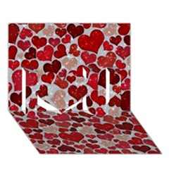 Sparkling Hearts, Red I Love You 3d Greeting Card (7x5)