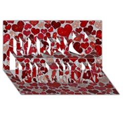 Sparkling Hearts, Red Happy Birthday 3D Greeting Card (8x4)