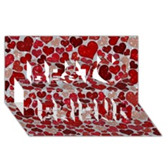Sparkling Hearts, Red Best Friends 3D Greeting Card (8x4)
