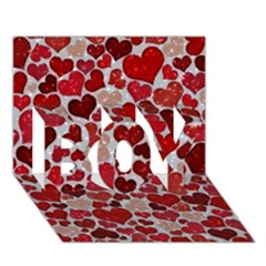 Sparkling Hearts, Red Boy 3d Greeting Card (7x5)
