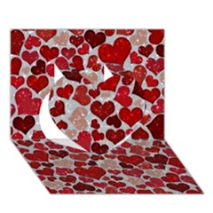 Sparkling Hearts, Red Heart 3d Greeting Card (7x5)