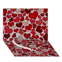 Sparkling Hearts, Red Heart Bottom 3D Greeting Card (7x5)