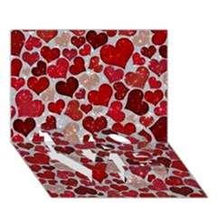 Sparkling Hearts, Red LOVE Bottom 3D Greeting Card (7x5)