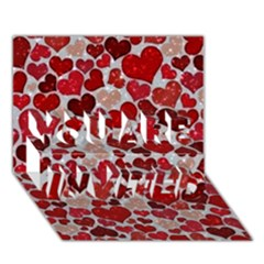 Sparkling Hearts, Red YOU ARE INVITED 3D Greeting Card (7x5)