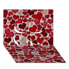 Sparkling Hearts, Red Clover 3d Greeting Card (7x5)