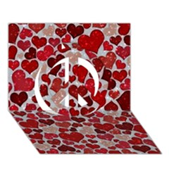 Sparkling Hearts, Red Peace Sign 3d Greeting Card (7x5)