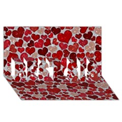 Sparkling Hearts, Red Best Sis 3d Greeting Card (8x4)