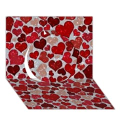 Sparkling Hearts, Red Circle 3D Greeting Card (7x5)