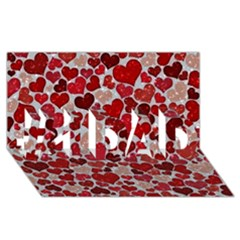 Sparkling Hearts, Red #1 DAD 3D Greeting Card (8x4)
