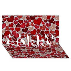 Sparkling Hearts, Red SORRY 3D Greeting Card (8x4)