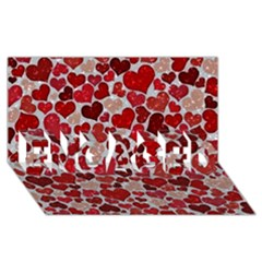 Sparkling Hearts, Red ENGAGED 3D Greeting Card (8x4)