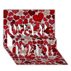 Sparkling Hearts, Red WORK HARD 3D Greeting Card (7x5)