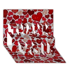 Sparkling Hearts, Red THANK YOU 3D Greeting Card (7x5)