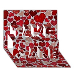 Sparkling Hearts, Red TAKE CARE 3D Greeting Card (7x5)