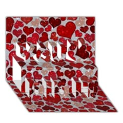 Sparkling Hearts, Red You Did It 3D Greeting Card (7x5)