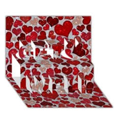 Sparkling Hearts, Red Get Well 3D Greeting Card (7x5)