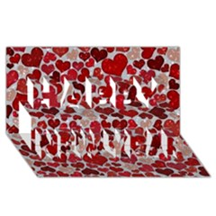 Sparkling Hearts, Red Happy New Year 3D Greeting Card (8x4)