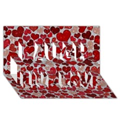 Sparkling Hearts, Red Laugh Live Love 3D Greeting Card (8x4)