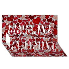 Sparkling Hearts, Red Congrats Graduate 3D Greeting Card (8x4)