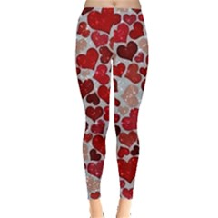 Sparkling Hearts, Red Women s Leggings