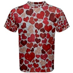 Sparkling Hearts, Red Men s Cotton Tees