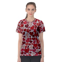 Sparkling Hearts, Red Women s Sport Mesh Tees