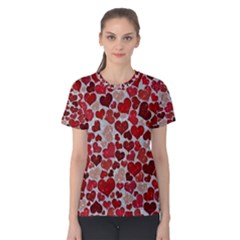 Sparkling Hearts, Red Women s Cotton Tees