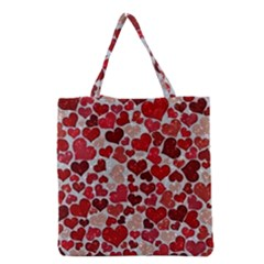 Sparkling Hearts, Red Grocery Tote Bags