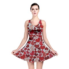 Sparkling Hearts, Red Reversible Skater Dresses
