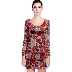 Sparkling Hearts, Red Long Sleeve Bodycon Dresses