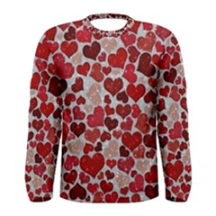 Sparkling Hearts, Red Men s Long Sleeve T-shirts