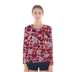 Sparkling Hearts, Red Women s Long Sleeve T-shirts