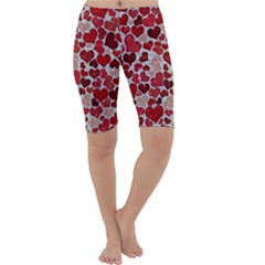 Sparkling Hearts, Red Cropped Leggings