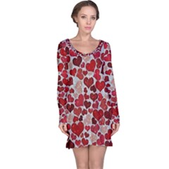 Sparkling Hearts, Red Long Sleeve Nightdresses
