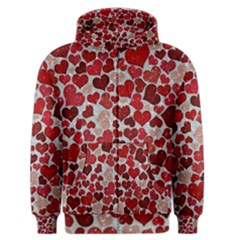 Sparkling Hearts, Red Men s Zipper Hoodies
