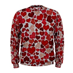 Sparkling Hearts, Red Men s Sweatshirts