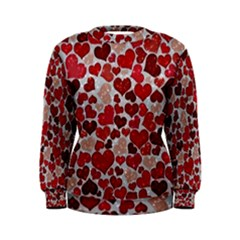 Sparkling Hearts, Red Women s Sweatshirts