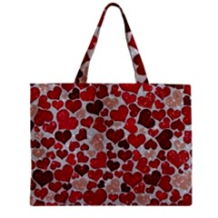 Sparkling Hearts, Red Zipper Tiny Tote Bags