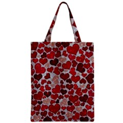 Sparkling Hearts, Red Zipper Classic Tote Bags