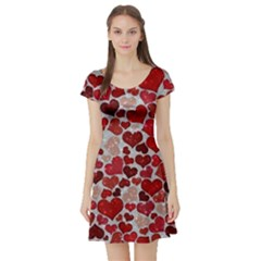 Sparkling Hearts, Red Short Sleeve Skater Dresses