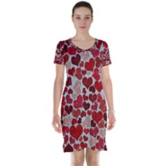 Sparkling Hearts, Red Short Sleeve Nightdresses